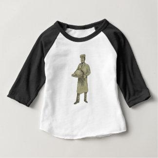 Victorian Waiter Serving Food Platter Drawing Baby T-Shirt
