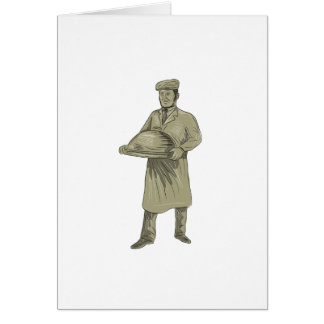 Victorian Waiter Serving Food Platter Drawing Card