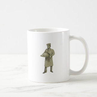 Victorian Waiter Serving Food Platter Drawing Coffee Mug