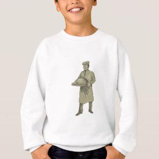 Victorian Waiter Serving Food Platter Drawing Sweatshirt