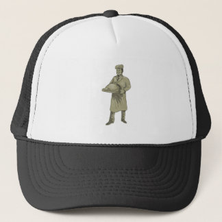 Victorian Waiter Serving Food Platter Drawing Trucker Hat