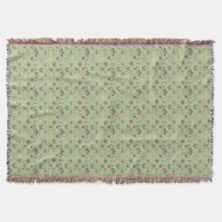 Victorian Wallpaper Daisies In Mint Green Rugs Throw Blanket