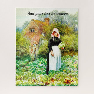 Victorian watercolor of woman in a cabbage patch, jigsaw puzzle