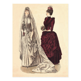 Victorian wedding gown postcard