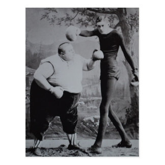 Victorian Weird Fat and Skinny Boxer Postcard