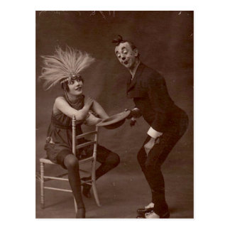 Victorian Weird Funny Clown Postcard