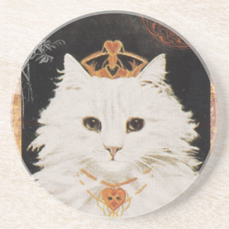 Victorian White Cat Queen Of Hearts Coasters