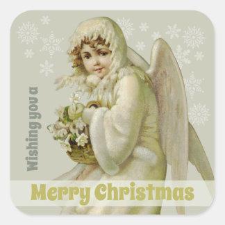 Victorian winter angel CC0956 Vintage Christmas Square Sticker