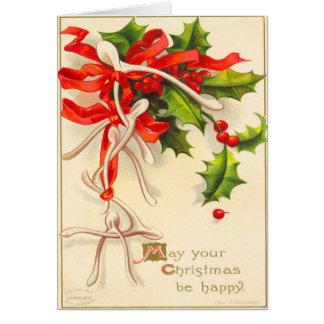 Victorian Wish Bone Christmas Card