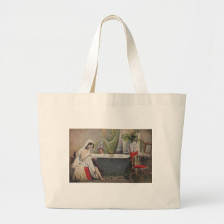 Victorian woman bathing large tote bag