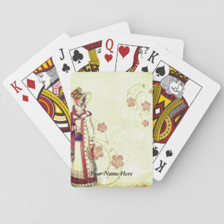 Victorian Woman Playing Cards