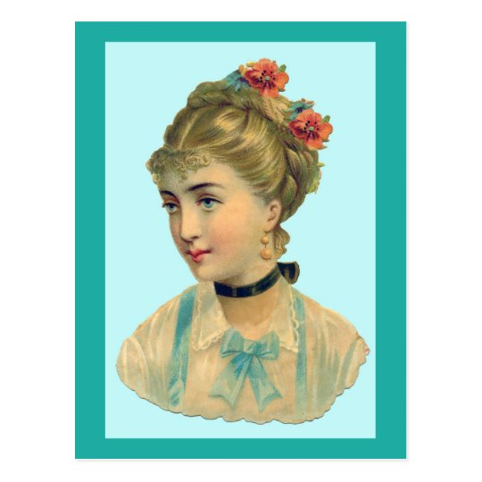 Victorian Woman Teal Postcard