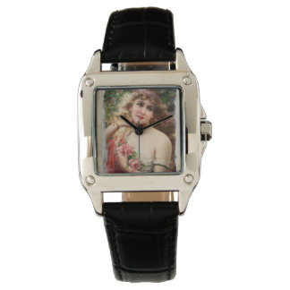 Victorian Woman with Pink Roses Black Leather Wristwatches