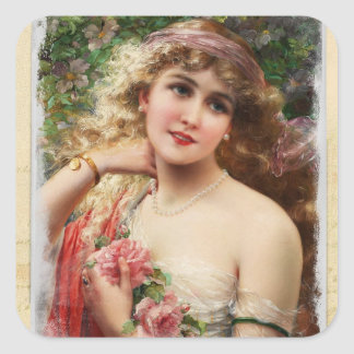 Victorian Woman with Pink Roses Stickers