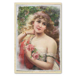 Victorian Woman with Pink Roses Tissue Paper