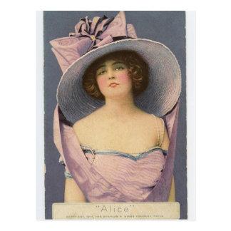 Victorian women in purple dress postcard