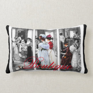 Victorian Women Shopping Vintage Boutique Pillow