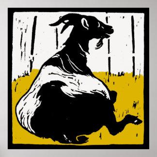 Victorian Woodcut Farm Animals Goats Poster