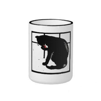Victorian Woodcut Kitty Cat On Mug