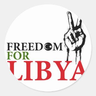 Victory & Freedom for Libya Round Sticker