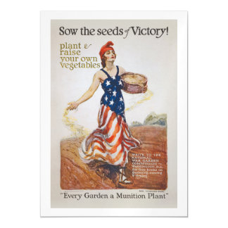 Victory Garden Liberty Sow Seeds WWI Propaganda Magnetic Invitations