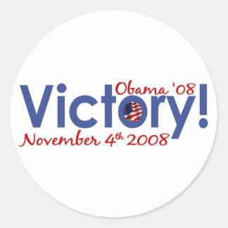 Victory Obama Wins 2008 Round Sticker