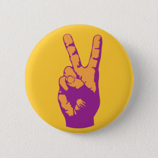 Victory, Peace and Harmony hand symbol 2 Inch Round Button