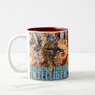 Victory Through Intelligence by Al Rio Two-Tone Coffee Mug