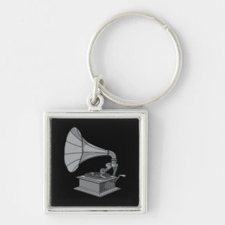 Victrola ~ Vintage Antique Record Player Silver-Colored Square Keychain