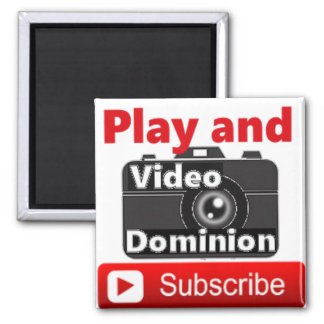 Video Dominion YouTube Subscribe and Play Square Magnet