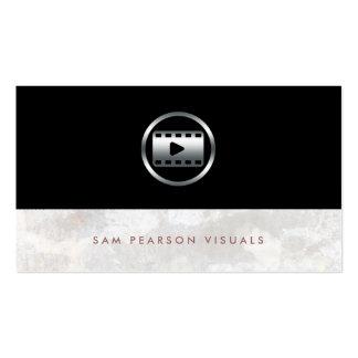 Video Editor Bold Silver Video Clip Icon Elegant Business Card Template
