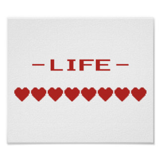Video Game Heart Life Meter Poster