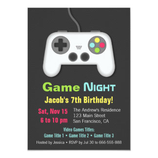 Video Game Night Boys Birthday Party Invitations
