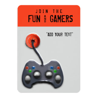 video game party 5x7 paper invitation card