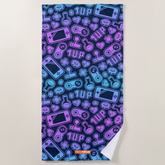 Video Game Pattern Retro Colors Beach Towel