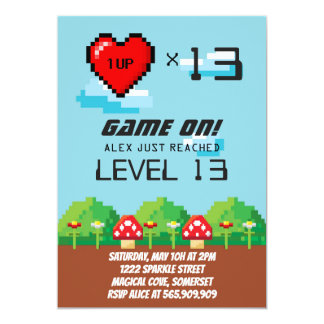Video Game Pixel Birthday Invitations