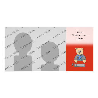 Video Game Player Bear. Personalized Photo Card