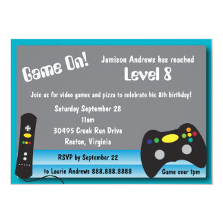 "Video Game Truck Birthday Party 4.5"" X 6.25"" Invitation Card"