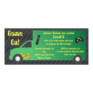 "Video Game Truck Birthday Party 4"" X 9.25"" Invitation Card"