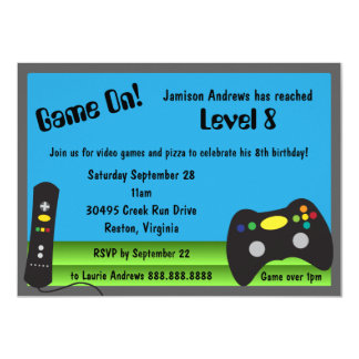 """Video Game Truck Birthday Party 4.5"""" X 6.25"""" Invitation Card"""