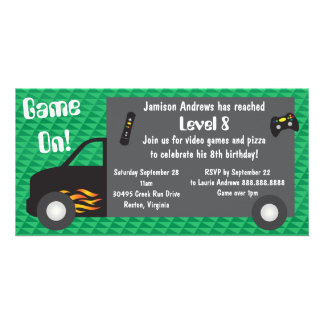 Video Game Truck Birthday Party Invitations Photo Cards