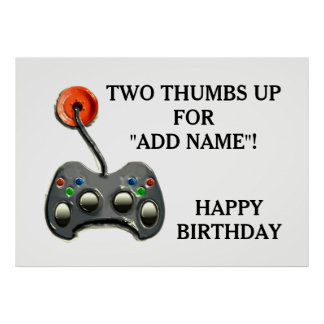 Video Gamer Birthday Poster
