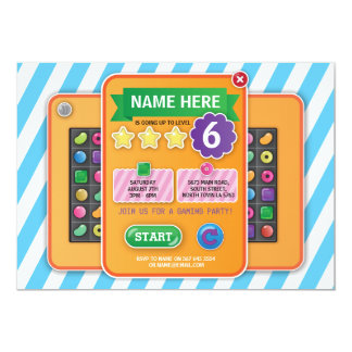Video Gaming Party Game Blue Candy Invite