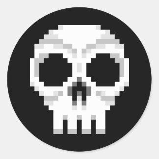 Videogame Death Skull - Pixel Art Classic Round Sticker