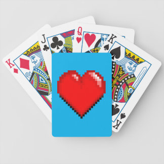 Videogame Life Heart - Pixel Heart Bicycle Playing Cards