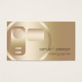 Videographer Elegant Gold Video Strip Icon Business Card