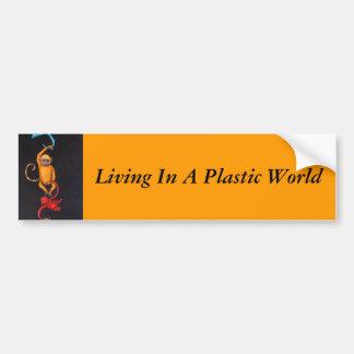 Vie dans un monde en plastique autocollant de voiture