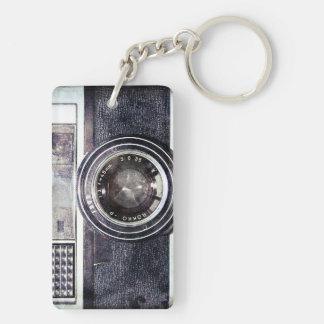 Vieil appareil-photo noir porte-clé rectangulaire en acrylique double face
