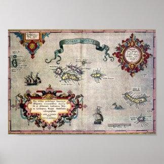 Vieille carte antique de la reproduction des Açore Poster