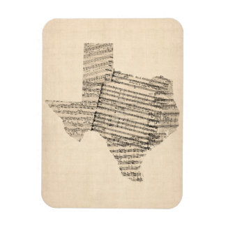 Vieille carte de musique de feuille du Texas Magnets